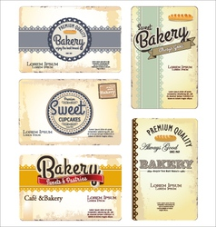 Set 5 bakery retro business card templates vector