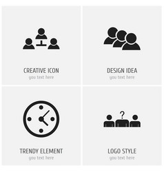 Set of 4 editable business icons includes symbols vector