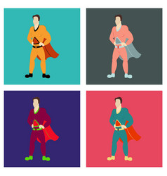 Set of superhero cartoon icon with superman on vector