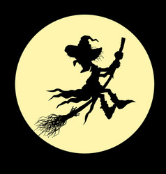 Silhouette a witch flying vector