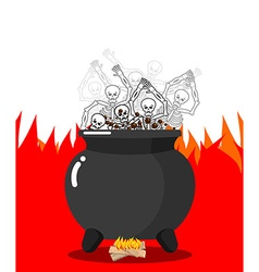 Sinners in cauldron in hell Skeletons are cooked vector image