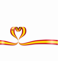 Spanish flag heart-shaped ribbon vector