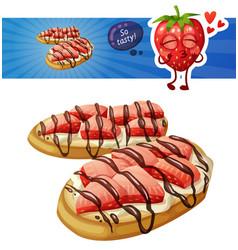 strawberry bruschetta icon isolated on white vector image