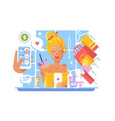Stylish girl shopping online vector