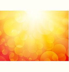 summer yellow background with bokeh and rays vector image