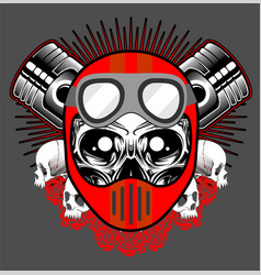 vintage motorcycle print with skull in motorcycle vector image
