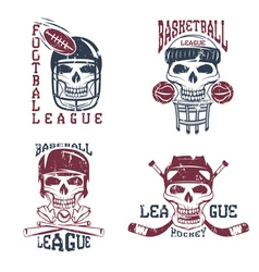 Vintage sport grunge labels set with skulls vector