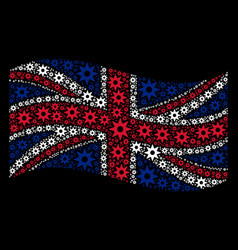 Waving united kingdom flag collage of new star vector