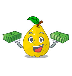With money ripe yellow quince fruit on mascot vector