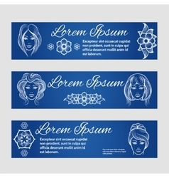 Woman face and floral web banners vector image