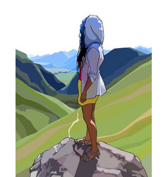 Woman stands on a rock and looks at a mountain vector