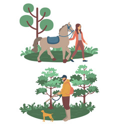 woman with horse man with dog hunting vector image