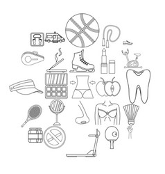 women health icons set outline style vector image