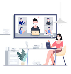 Work from home stay at home teleconference vector
