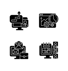 Work trackers black glyph icons set on white space vector