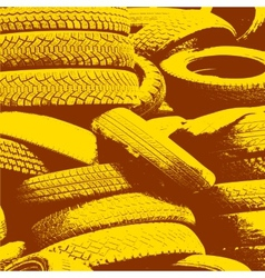 Yellow grunge background with black tire track vector