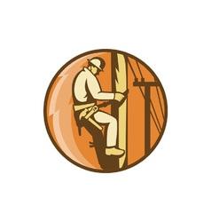 Electrician climbing utility post vector