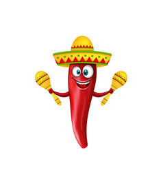 festive smiling chili pepper with maracas vector image
