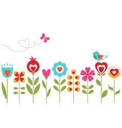 Floral hearts design vector image vector image