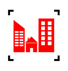 real estate sign red icon inside black vector image
