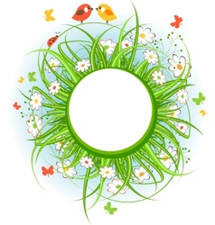 Round frame with grass and birds vector image