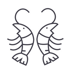 shrimp line icon sign on vector image vector image