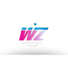wz w z alphabet letter combination pink blue bold vector image vector image