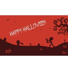 Happy Halloween zombie pumpkins tomb backgrounds vector image vector image