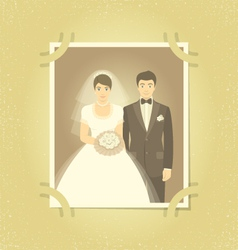 Old Wedding Photo in Family Album vector image