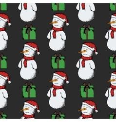 Seamless pattern of snowmen vector image vector image