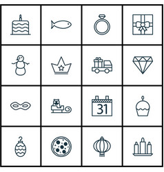 set of 16 happy new year icons includes winter vector image