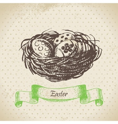 Vintage background with Easter eggs and nest vector image