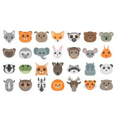 cute cartoon animals heads set vector image