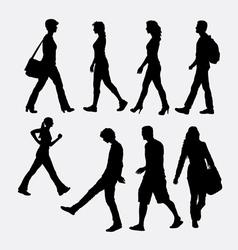 People walking silhouette vector