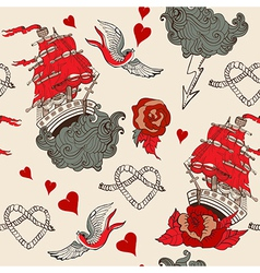 Seamless Vintage pattern with ship for Valentine vector image vector image