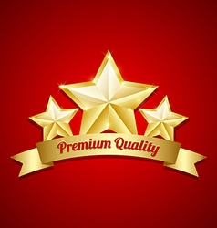 Three golden stars symbol vector image vector image