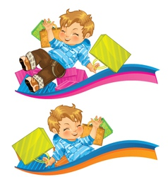 Very Happy Kid with Gifts vector image vector image