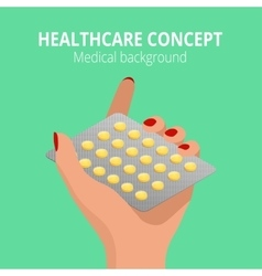 Woman holding blister pack of pills in his hands vector image
