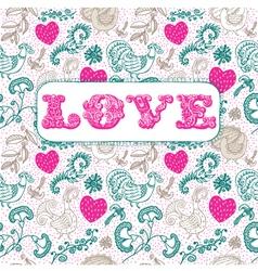 Vintage floral love background vector image vector image