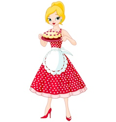 Young Woman Serving Cake vector image