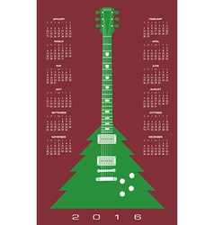 2016 Christmas tree guitar calendar vector image