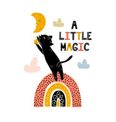 a little magic print with cute black cat vector image