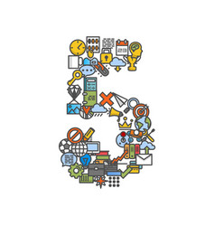 a set of phone icons shaped as five number vector image
