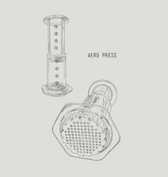 Aero press coffee sketch vector