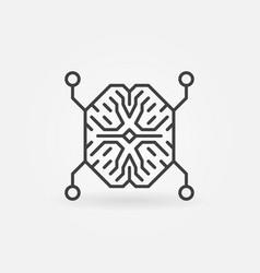 ai digital brain outline concept minimal vector image