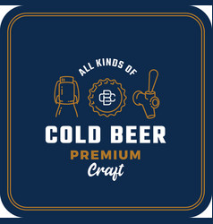 all kinds cold beer abstract beer sign vector image