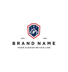American house excavator and shield logo design vector