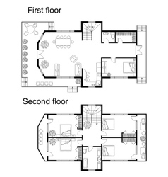 Architectural plan of a double decker house vector
