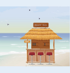 Beach bar summer tropic seaside wooden house vector
