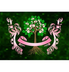 Blossoming cherry tree with banner and ribbons vector image